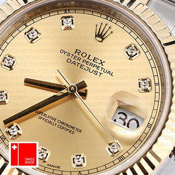 Rolex Fluted Bezel, Gold Dial Watch