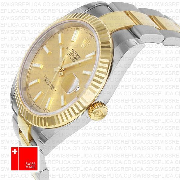 Rolex Datejust 41 Oyster Fluted Bezel & Gold Dial 2 tone Replica Watch