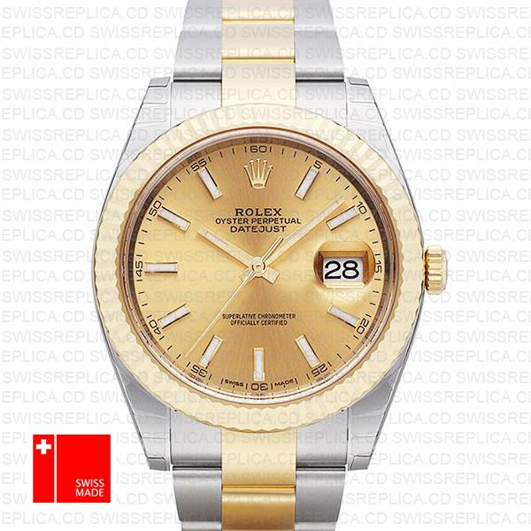 Rolex Datejust 41 Oyster Fluted Bezel & Gold Dial 2 tone Replica Watch