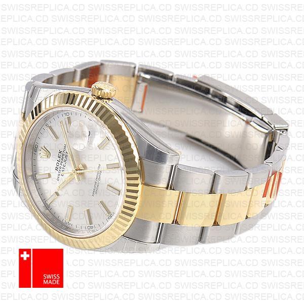 Rolex Datejust 41 Two Ton Silver Dial & Fluted Bezel Swiss Replica Watch