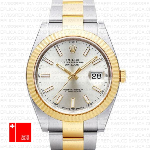 Rolex Datejust 41 Two Ton Silver Dial & Fluted Bezel Swiss Replica Watch