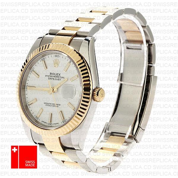 Rolex Datejust 41 2-Tone 18k Gold Fluted Bezel, White Dial Replica Watch