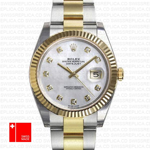 Rolex Datejust 41 2-Tone 18k Gold, White MOP Dial & Diamond Markers