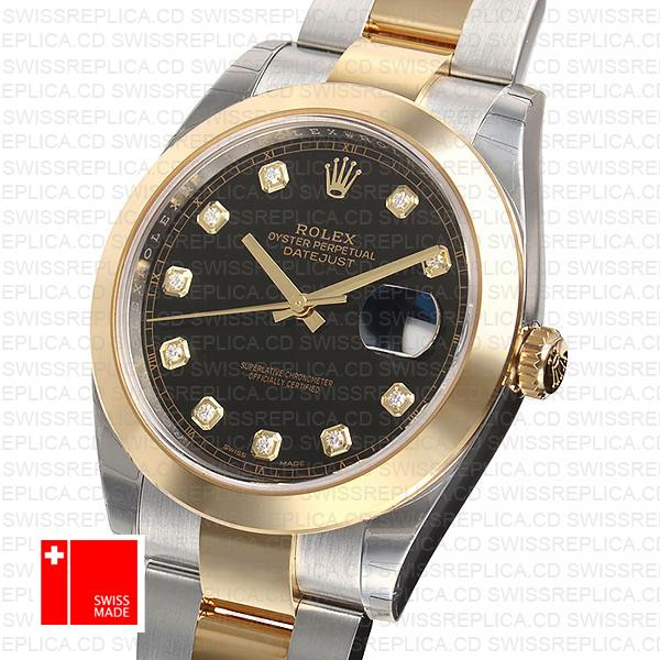 Rolex Datejust 41 Black Dial with Moissanite Diamond Replica Watch