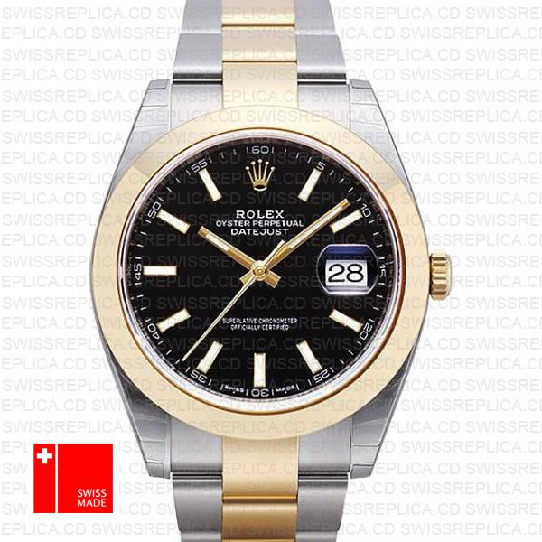 Rolex Datejust 41 2-Tone with Black Dial, Gold Bezel Swiss Replica Watch
