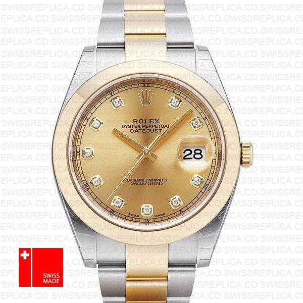 Rolex Datejust 41 Oyster 2 Tone 18k Yellow Gold Smooth Bezel Gold Dial Diamond Markers 126303 Swiss Replica