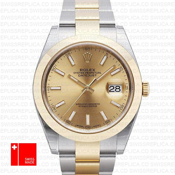 Rolex Datejust 41 Oyster 2 Tone 18k Yellow Gold Smooth Bezel Gold Dial Stick Markers 126303 Swiss Replica