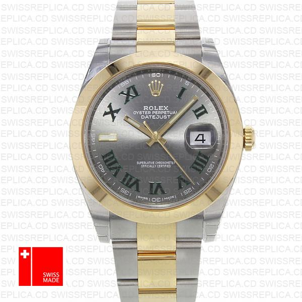 Rolex Datejust 41 2 Tone 18k Yellow Gold Slate Grey Dial Replica Watch