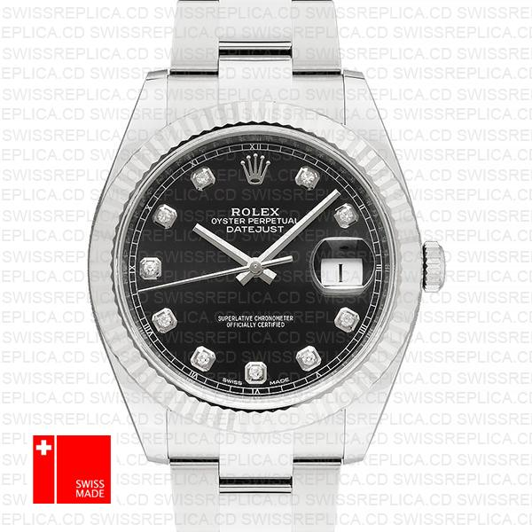 Rolex Datejust 41 Black Dial with Moissanite Diamonds | Replica Watch