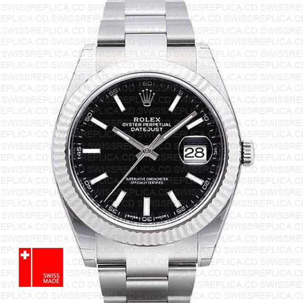 Rolex Datejust 41 Oyster 904l Steel 18k W Gold Fluted Bezel Black Dial Stick Markers 126334 Swiss Replica