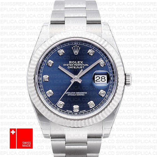 Rolex Datejust 41 Blue Diamond Dial Fluted Bezel | White Gold Watch