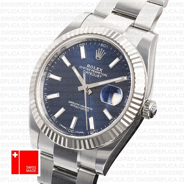 Rolex Datejust 41 Oyster 904l Steel 18k W Gold Fluted Bezel Blue Dial Stick Markers 126334 Swiss Replica