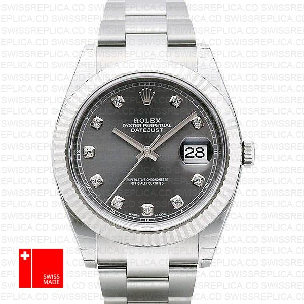 Rolex Datejust 41 Dark Rhodium Grey Diamond Dial Oyster Replica watch