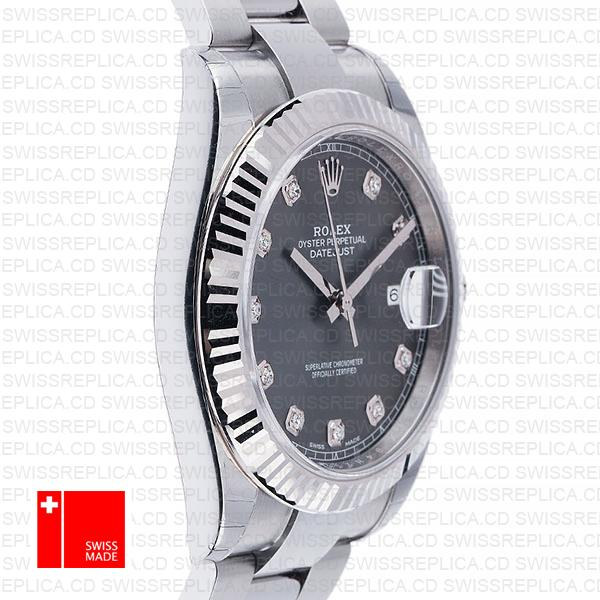 Rolex Datejust 41 Oyster Steel 18k W Gold Fluted Bezel Dark Rhodium Grey Dial Diamond Markers 126334