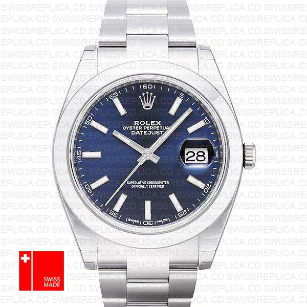 Rolex Datejust 41 Blue Dial Oyster Bracelet | 41mm Rolex Replica Watch