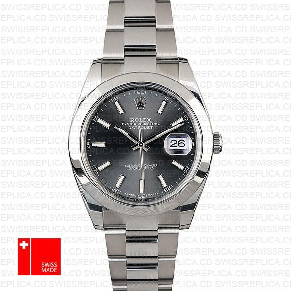Rolex Datejust 41 Oyster Steel Smooth Bezel Dark Rhodium Grey Dial Stick Markers 126300