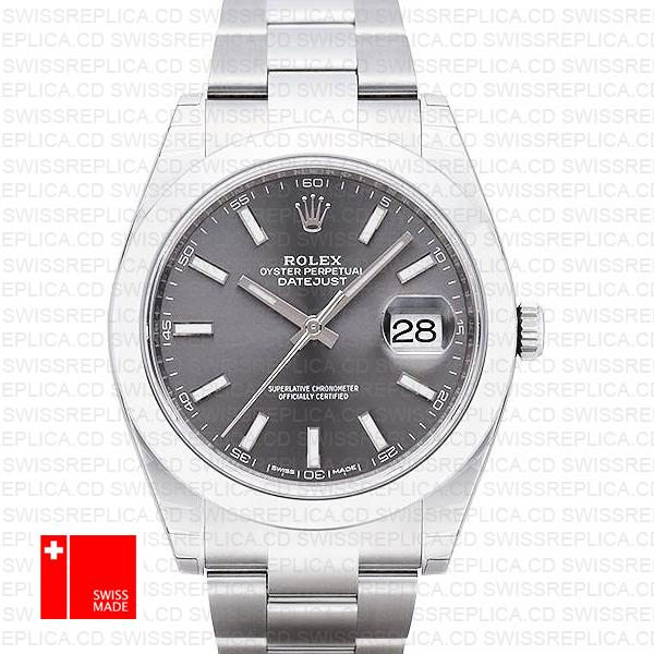 Rolex Datejust 41 Dark Rhodium oyster Bracelet | Grey Dial Replica Watch
