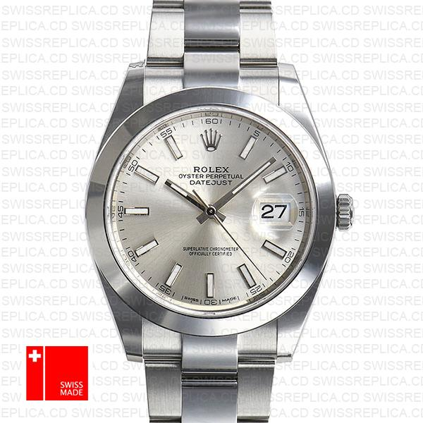 Rolex Datejust 41 Oyster Steel Smooth Bezel Silver Dial Stick Markers 126300