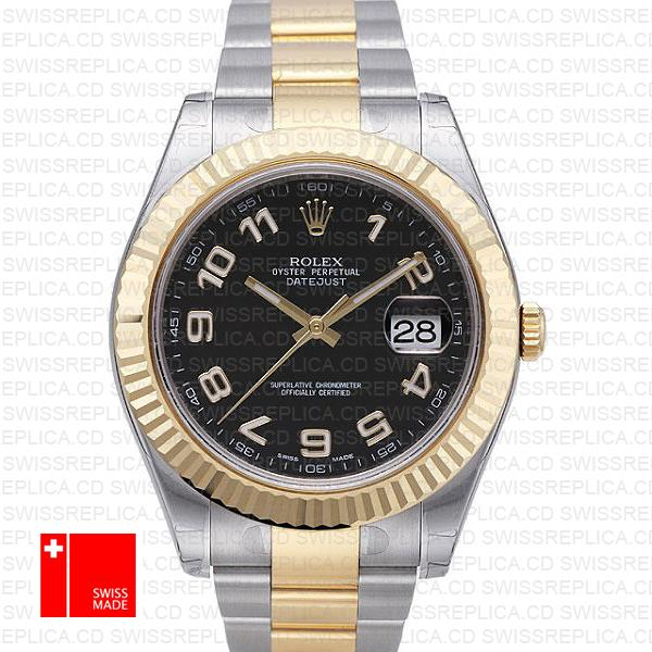 Rolex Datejust Ii 2 Tone Black Arabic 41mm 116333 Swiss Replica