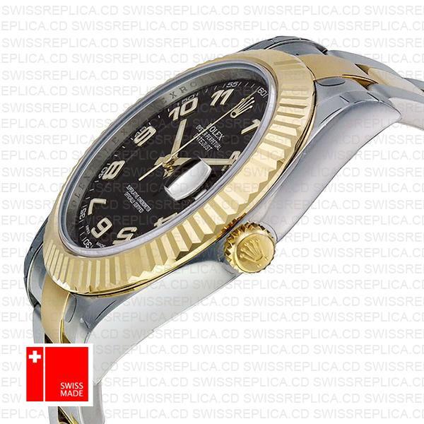 Rolex Datejust II Black Dial & Arabic Numerals | 18k Gold Replica Watch