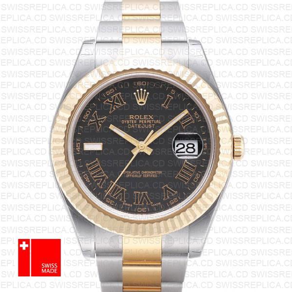 Rolex Datejust II 41mm Black Dial & Roman Markers Swiss Replica Watch