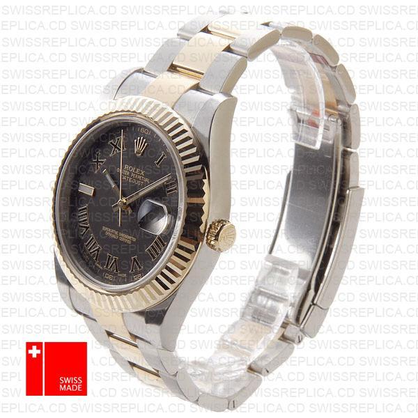 Rolex Datejust Ii 2 Tone Black Roman 41mm 116333 Swiss Replica