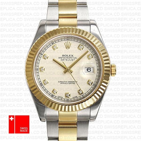 Rolex Oyster Datejust ΙΙ 2 Tone 116333 Ivory White Dial, Diamond Markers