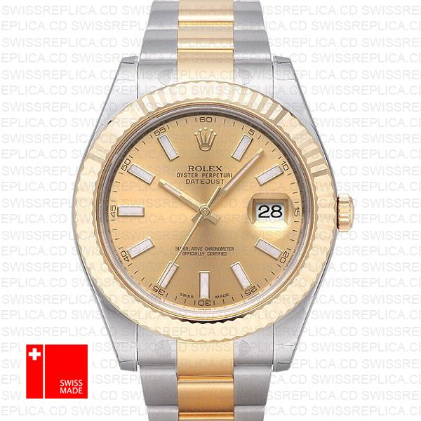 Rolex Datejust II 41mm 2 Tone 18K Gold/904L Steel Swiss Replica Watch
