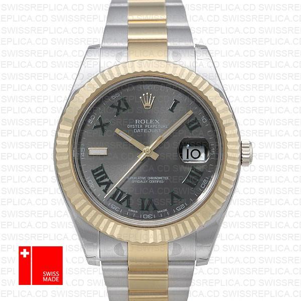 Rolex Datejust Ii 2 Tone Green Roman 41mm 116333 Swiss Replica
