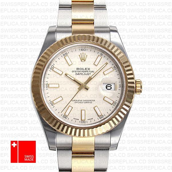 Rolex Datejust Ii 2 Tone White 41mm 116333 Swiss Replica