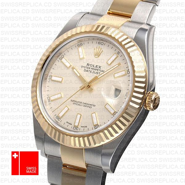 Rolex Datejust II 41mm Two Tone White Dial & Yellow Gold Replica Watch