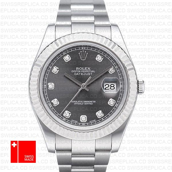 Rolex Datejust II 41mm Grey Rhodium Diamond Dial Swiss Replica Watch