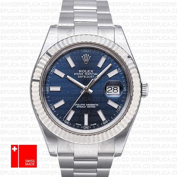 Rolex Datejust Ii Steel 18k White Gold Blue 41mm 116334 Swiss Replica