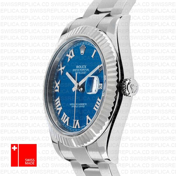 Rolex Datejust II Blue Dial Roman Numerals | 18k Swiss Replica Watch