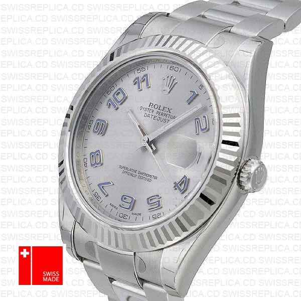 Rolex Datejust Ii Steel 18k White Gold Silver Arabic 41mm 116334 Swiss Replica Replica