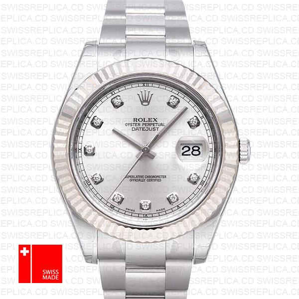 Rolex Datejust Ii Steel 18k White Gold Silver Diamonds 41mm 116334 Swiss Replica