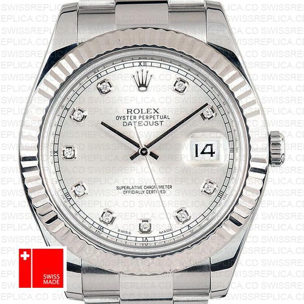 Rolex Datejust Ii Steel 18k White Gold Silver Diamonds 41mm 116334 Swiss Replica