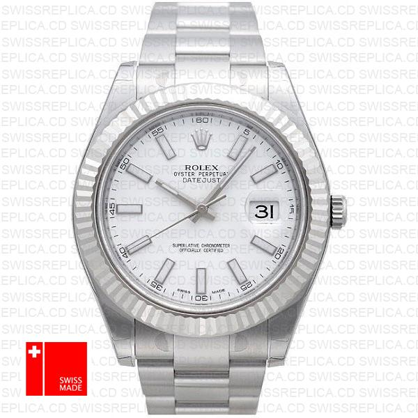 Rolex Datejust II 'White Dial' 41mm Steel & 18k White Gold Replica Watch