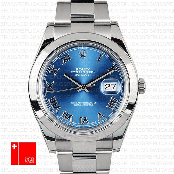 Rolex Datejust II Blue Dial Roman Numerals | 41mm Swiss Replica Watch