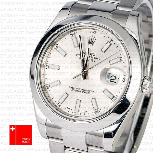 Rolex Datejust II Oyster 41mm Steel and 18k White Gold Replica Watch