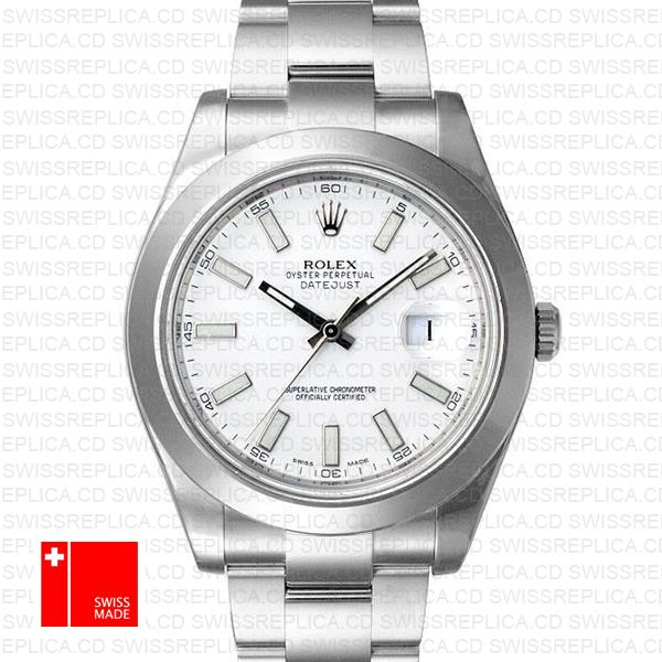 Rolex Oyster Datejust ΙΙ White Dial & 18k White Gold Swiss Replica Watch