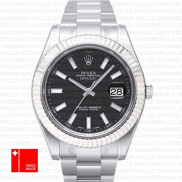 Rolex Datejust II 41mm Black Dial & Stick Markers | Swiss Replica Watch