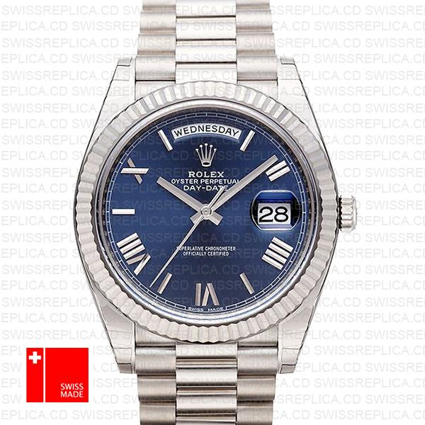 Rolex Day-Date 40 Watch: 18k White Gold & Blue Dial | Swiss Replica