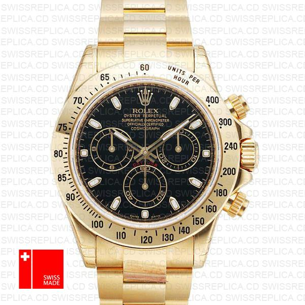 Rolex Cosmograph Daytona Black Dial | Yellow Gold Swiss Replica Watch