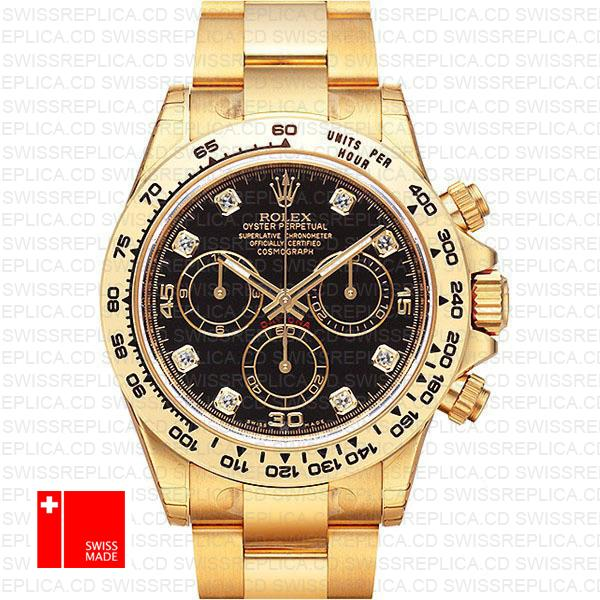 Rolex Cosmograph Daytona 18k Yellow Gold Wrapped 904l Steel Diamond Black Dial 40mm Ref:116508 Swiss Replica Watch