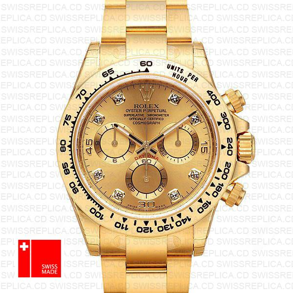 Rolex Cosmograph Daytona 18k Yellow Gold Wrapped 904l Steel Diamond Gold Dial 40mm Ref:116508 Swiss Replica Watch
