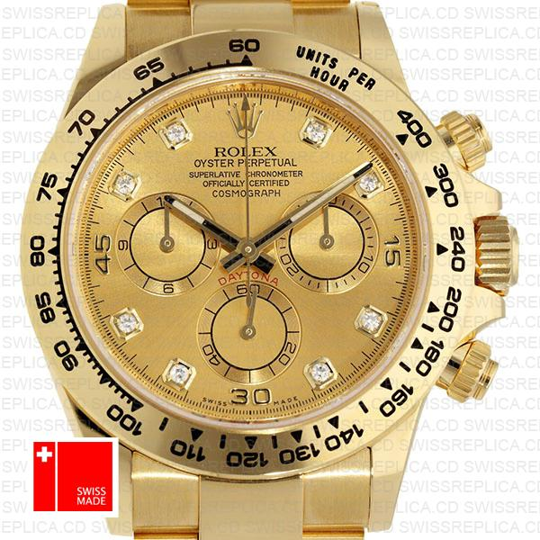 Rolex Cosmograph Daytona 18k Yellow Gold Wrapped 904l Steel Diamond Gold Dial 40mm Ref:116508 Swiss Replica Watch