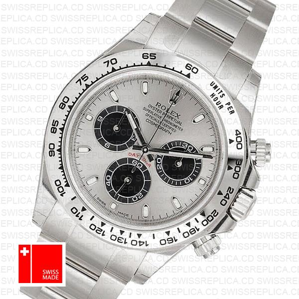 Rolex Daytona 18k White Gold Steel Dial 40mm 116509