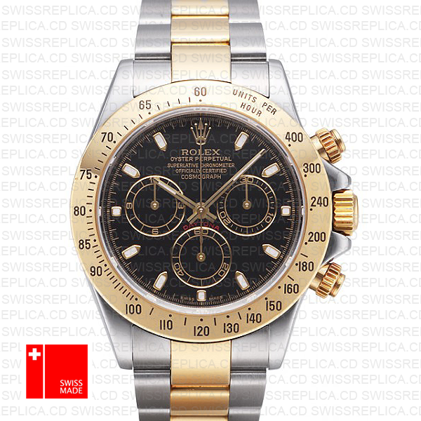 Rolex Cosmograph Daytona Two Tone Yellow Gold Rolex Black Dial Watch