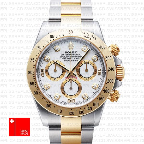 Rolex Cosmograph Daytona Diamond White Dial | 2-Tone Replica Watch